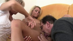 Two blondes give this old fart a magical night with their mouths and twats