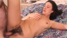 Slender brunette mom has a hard stick making her hairy peach all wet