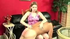 Beautiful Blonde With Pigtails Spanks Her Boyfriend's Ass On Her Lap