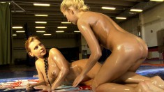 Stunning Dorothy Black gets oiled up and fights sexy Clara G.