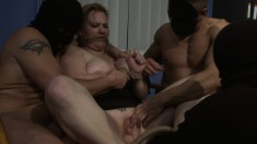 The office turns into an orgy of humiliation and hot cunt banging