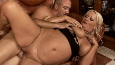 Chubby blonde mature with a big booty goes wild for a throbbing stick