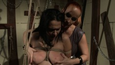Mistress ties up her hot, busty slave and tortures and strapon fucks her
