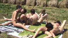 Outside gay orgy with six dudes fucking and sucking hard pricks