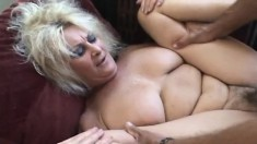 Luscious blonde mature lady has a hungry peach yearning for hard meat