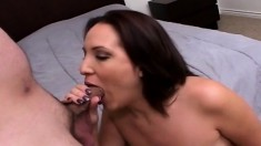 Sexy brunette with a hairy bush blows him and gets her cunt drilled