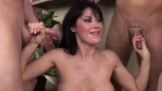 Big breasted Eva Karera sucks a few cocks and swallows their hot load