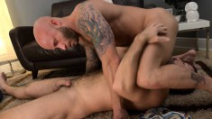 Two insatiable gay lovers can't stop fucking each other's sweet asses