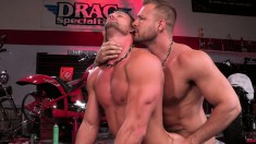 Two horny bikers invade each other's assholes with their tongues and cocks