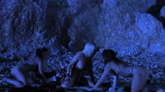 In the still of the night, three wild babes indulge in hot lesbian sex