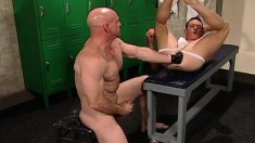 Beautiful boy seduces a bald headed hunk to punish his fiery anal hole