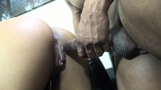 Sexy brunette girl with a lovely ass Sophia Fiore enjoys a black pole