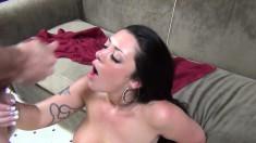 Busty brunette with a divine ass Melina Mason gets her peach devoured