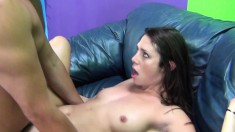 Petite brunette Anna fucks a hard shaft and releases her warm juices