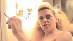 Trashy blonde whore Jean fucks a raging prick and enjoys a cigarette
