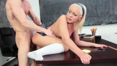 Hot young blonde lifts up her short skirt to have her cunt wrecked