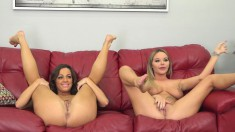 Lesbian babes Rachele and Abigail use fingers, tongues and toys to get off