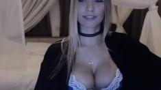 Blonde With Huge Boobs Masturbates In Lingerie