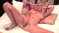 Endless masturbation from lascivious, fair-haired and busty courtesan