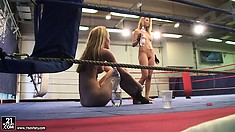 Sophie Moone and her friend get in the ring and prepare for another hot scene