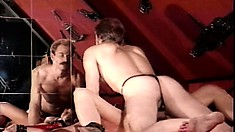 Euro BDSM with these slaves getting mistreated and eating cock