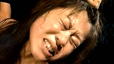 Petite japanese teen gets her tiny ass filled with a milk enema