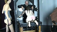 Kitten and Tawny eat a little pussy before strapping into the machine