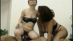 Peggy Sue and the midget take turns riding Zoltan Kabai cock