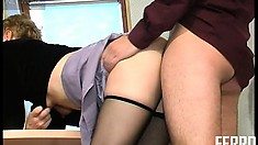 Cute blonde babe in stockings gets fucked hard by her horny boss
