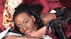 Buxom black girl in a hot latex outfit Lady Armani has a white stud banging her twat