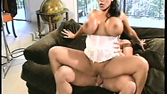 Big breasted slut Ava Devine gets her holes plowed by two ripped thugs