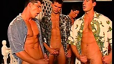A gathering of hunky muscle men is sure to produce a lot of stiff muscle action