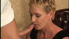 Old slut with huge boobies gets the flavor of young guy's flute