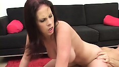 Lustful brunette with big tits rides a hard cock on her way to satisfy her desires