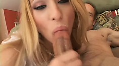Sweet Kayla shows her hot bod then takes on a trio of tools in a circle jerk blowjob