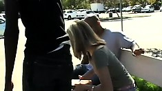 Innocent white chick gets seduced and banged by two horny black guys