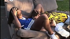 Black Cheerleader Gives Her Moist Pussy To A Lucky White Boy