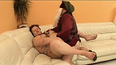 Fat as fuck old lady gets pounded raw by a freaky midget's tool