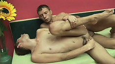Two butt buddies get together for some dick eating and ass banging