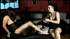 Slave goes through a full sissification procedure and eats his own cum