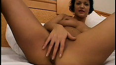 European slut touches herself before a big cock deeply bangs her holes