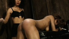 Dominant mistress doles out some cruel punishment to her slave