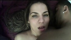 Nice ass brunette blows him and bends over to get her asshole drilled