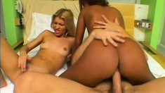 Sweet ebony babe and pretty blonde girl invite a white stud to pound their holes