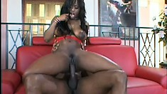 Big tit ebony takes his black cock around the world in every hole