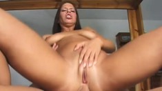 Lusty brunette girl opens her ass cheeks to take some big dick