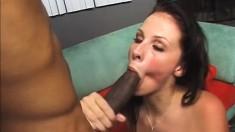 Busty Brunette Takes A Black Creampie