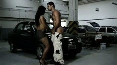 Mechanic is one lucky dude as this clip shows him nailing two different broads