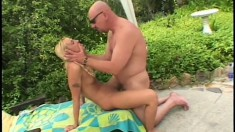 Bald bad boy thrusts his proud manhood into an innocent blonde