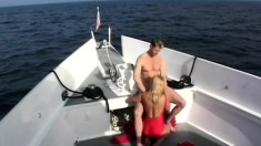 Kristy Love puts her superb body on display and blows a cock on a boat